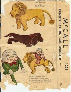 1940's pattern for stuffed dachshund toy by McCall's on vintagepatterns.wikia.com