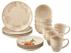 Orchard Harvest Stoneware 16 Piece Dinnerware Set
