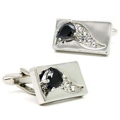 elegant sliver rectangle with black and white  crystal cufflinks