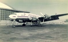Chicago Midway Airport - TWA -Lockheed Constellation (L-749A) (Mar58) (N6021A) In front of the TWA hangars on the north side of the field.