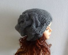 Handmade Knit Cable Hat Beanie Slouchy Hat  Large hat Baggy
