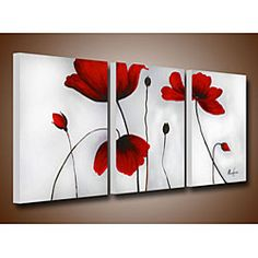 @Overstock - Create a beautiful conversation piece with this canvas art set. The hand-painted 'Flowers' set is gallery wrapped and stretched for a complete and professional look.http://www.overstock.com/Home-Garden/Flowers-Hand-painted-Oil-on-Canvas-Art-Set/4117200/product.html?CID=214117 $121.99