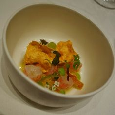 Mmmm! Barely Cooked Spot Prawn - chilled prawn gelée, cucumbers, zuccchni, squash blossom, herbs, and spot prawn crackers which were delicate, thin and crisp like papadum (amazing) at @ProvidenceLA in #LosAngeles #California #FMFinLA #FMFProvidence #chefstasting #seafood Spot Prawns, Squash Blossom, Crackers, Thai Red Curry, Crisp, Seafood, Delicate, Herbs, California