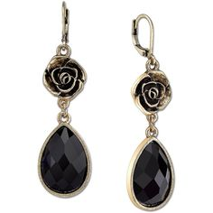 1928 Jewelry Gold-Tone Black Faceted Flower Teardrop Earrings ($17) ❤ liked on Polyvore featuring jewelry, earrings, gold tone jewelry, gold colored earrings, tear drop earrings, blossom jewelry and 1928 jewelry