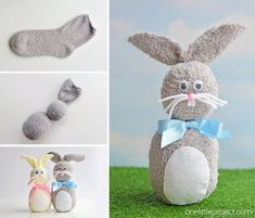 These no-sew sock bunnies are EASY and they're so cute! They take less than 20 minutes and use simple dollar store materials. Such a fun craft for Easter! Easter Projects, Easter Art, Bunny Crafts, Easter Crafts For Kids, Easter Bunny, Easter Decor, Easter Eggs, Sock Bunny, Sock Crafts