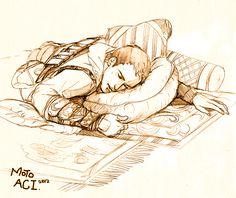"Altair rests on pillows in a bureau. ""Sleep"" by moto0207 on DeviantArt.com."