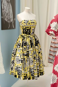 Gorgeous yellow print circle cocktail dress. Horrockses Fashions: The Fashion and Textile Museum