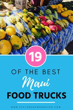19 of the best Maui food trucks. Organized by locations in Kehi, Kahalui (by the airport), Lahaina, and Road to Hana. Hawaii Travel Guide, Maui Travel, Maui Vacation, Travel Usa, Travel Destinations, Travel Tips, Vacation Ideas, Maui Food, Maui Resorts
