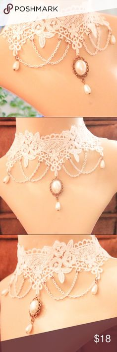 white Victorian choker lace/ handmade/ gothic Classy choker can be worn in a beautiful Victorian dress, gothic lolita dress, or even just a simple white dress. 12 inches Adjustable  Fast shipping  Reasonable offers only Jewelry Necklaces