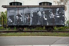 """JR  ArtWork on an old wagon """"Départ pour le front, Barcelone, 1936"""" Vevey, Switzerland"""