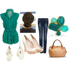 A fashion look from April 2012 featuring blue shirt, skinny jeans and wedge pumps. Browse and shop related looks.
