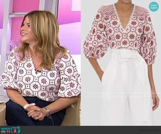 On Today, Today Show, Jenna Bush Hager, Work Wear, Fashion Outfits, Blouse, Red, How To Wear, Clothes