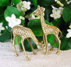 Vintage Brass Figurine Set, Giraffe Figures, Animal Statues, 1950s 1960s Mid Century Art / Collectibles / Home Decor, Jungle African by TheGildedSwan, $37.00