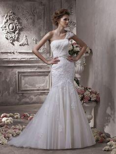 Mermaid One Shoulder Lace Applique Tulle Wedding Dress-wm0023, $294.95