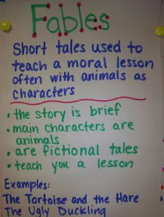 Some good anchor charts on traditional literature: fables, folktales, fairytales, myths and legends...just what I need for this upcoming unit.