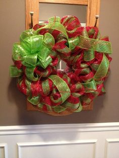 Red/Apple Green Deco Mesh Wreath