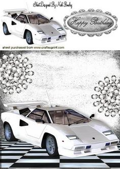 WHITE FERRARI WITH DIAMONDS 8X8 on Craftsuprint - Add To Basket!