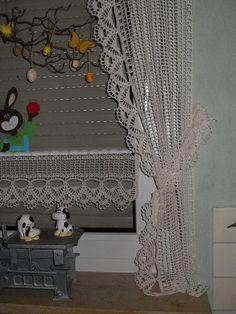 Häkel-Gardinen mit Spitze VII  Wunderschöne Gardine Traum in creme  ...  85cm x 15 cm   Gardine mit selbst gehäkelter mit Spitze VII    und Stäbchen Durchzug ...   Kann in...