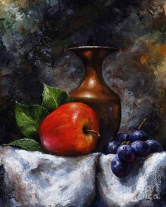 Fruit Painting Print featuring the painting Apple And Grapes by Emerico Imre Toth