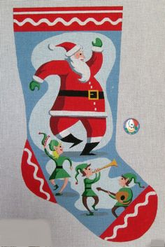 Needlepoint christmas stocking kits for beginner and experienced needlepoint christmas stocking of santa and his elves that you can stitch solutioingenieria Images