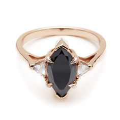 Black Diamond Marquis Bea engagement ring unique alternative rose gold by Anna Sheffield.