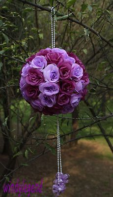 1 Pc 7.5'' Purple Rose Kissing Ball Pew Bows Pomander Wedding Decoration