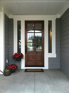 Love this front door! dovetail gray sw white dove bm exterior paint colors This will be the new color of my house! I love this combination and it will look great with my brown brick. Black door, white accents and trim. House Paint Exterior, Exterior House Colors, Exterior Doors, Exterior Design, Exterior Trim, Door Design, Rustic Brick House Exterior, Wooden Shutters Exterior, Outdoor House Colors