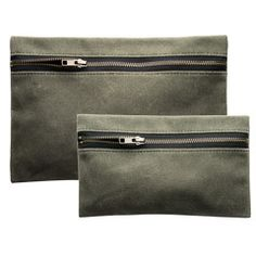 Zippered Waxed Canvas Pouch (Olive) $35-$45