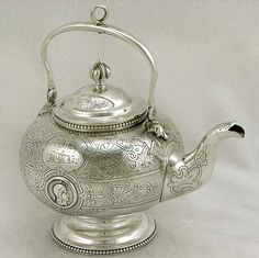American coin silver medallion style teapot, c1860 (supershrink)