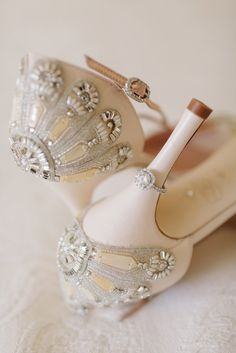 Diamond Engagement Ring on Blush Pink Bridal Shoes