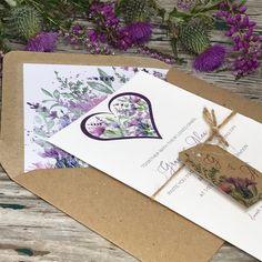 Lavender Wedding Invitations, Wedding Invitation Samples, Invites, Wedding Stationery Uk, Scottish Wedding Themes, Thistle Wedding, Tartan Wedding, Scottish Thistle, Purple Wedding