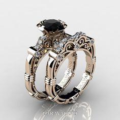 Art Masters Caravaggio 14K Rose Gold 1.0 Ct Black and White Diamond Engagement Ring Wedding Band Set R623S-14KRGDBD