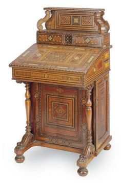 A MOORISH BONE-INLAID ROSEWOOD, AMBOYNA AND PARQUETRY DAVENPORT DESK, LATE 19TH CENTURY
