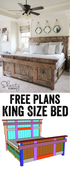 # shantychiccom King Size Bed Free Plans DIY King Size Bed - Free Woodworking Plans and tutorial by LOVE this!DIY King Size Bed - Free Woodworking Plans and tutorial by LOVE this! Pallet Furniture, Rustic Furniture, Furniture Ideas, Contemporary Furniture, Metallic Furniture, Repurposed Furniture, Cheap Furniture, Building Furniture, Furniture Vintage