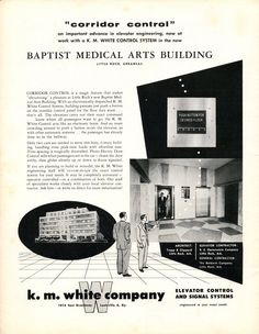"""#TBT to this K.M. White Company ad for """"corridor control"""" from the March 1954 issue of ELEVATOR WORLD. #elevator #history #elevatorads #destinationcontrol"""