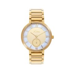 Γυναικείο κομψό ρολόι JCou JU16057-4 Celine με κίτρινο & φίλντισι καντράν και επίχρυσο ατσάλινο μπρασελέ   Γυναικεία ρολόγια JCou ΤΣΑΛΔΑΡΗΣ στο Χαλάνδρι
