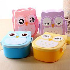Cute Cartoon Owl Lunch Box Food Container Portable Bento Storage Box (Random Color)