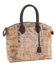 a3edd0a1da8e Taupe  amp  Brown Vintage Map Leather Tote