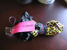 New Betsey Johnson Designer Brand Pink & Black Cheetah Print Umbrella w/Ruffle