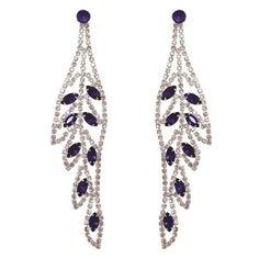 Royal Blue Color Marquise Crystal Rhinestone Leaf Shape Long Drop Post Earrings…