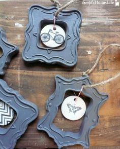Clay ornaments with painted frames. The clay I have doesn't dry completely hard, may have to try another brand?
