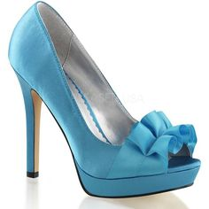 Fabulicious Lumina 42 Blue Satin Peep Toe Pumps with Bow ($62) ❤ liked on Polyvore featuring shoes, pumps, blue pumps, peeptoe shoes, peep-toe shoes, high heeled footwear and blue high heel pumps