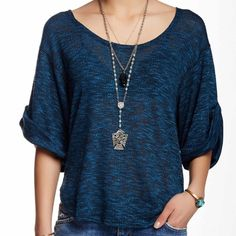 Free People Beach Blue Nani Marled Knit Tee Beautiful blue marled-knit Free People Beach tee. Loose fit with slouchy, oversized sleeves. Scoop neckline and a rounded high-low hem. Color is Starlight Combo. 77% Polyester, 23% Rayon.  ✳️Price is negotiable - please feel free to submit your best offer!✳️ Free People Tops