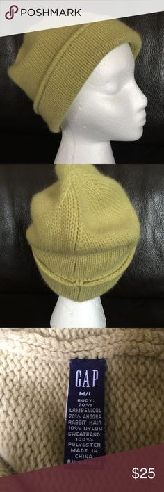 GAP Green Lambswool Hat So soft🚨GAP Green Lambswool Hat with inner fleece lining band.  Pea green Lambswool/angora hair/ nylon blend fiber knit.  Excellent, new condition. GAP Accessories Hats