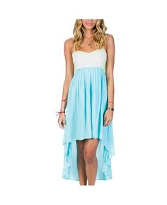 The Highs And Lowz Dress is a woven dress with high-low hem, front pleat detail, and fun color mix up throughout.