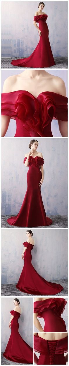 Mermaid burgundy evening dress. #Dresses #Gowns #PartyDress