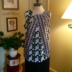 Peter Pilotto Top This is a great top by Peter Pilotto for Target. Size Large. Soft gathered pleats fall from neckline accentuating the beautiful pattern and design. This is a great corporate wardrobe piece. Black, green and white. Peter Pilotto for Target Tops Blouses