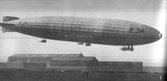 R34, the first airship to fly from Great Britain to the United States, and to make a double crossing of the Atlantic. Both trips were made in July 1919. This photo was published in the 1938 book, Our Generation.  #ToHellAndBack #MariaRosaAuthor #R34 #airship #blimp #zeppelin #GreatBritain #Britain #British #England #OurGeneration #books #photography #history #transport
