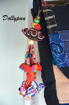 Beaded HMONG Hill Tribal Bags Keychain Long Charm by Dollypun