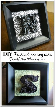 DIY Framed Monogram! Simple to make! Great gift!     SweetLittleBluebird.com